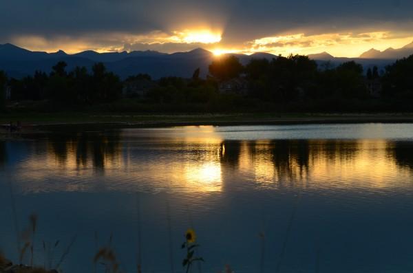 My backyard - Waneka Lake with the Rocky Mountains and Longs Peak as a backdrop.