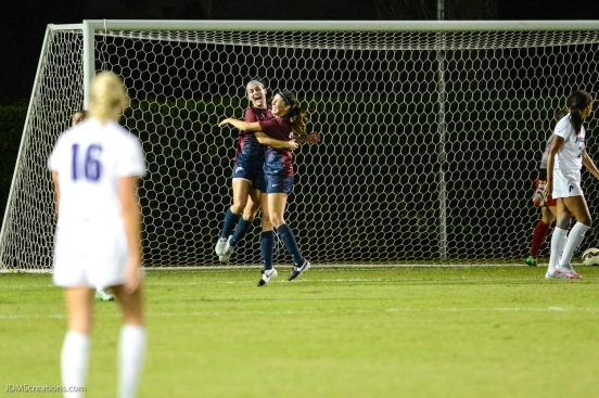 Hilby celebrates with Sanger after goal in LMU vs. Portland in WCC match-up at Sullivan Field.
