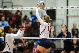 Tess Reid LMU volleyball vs. UCLA AUg. 27, 2016