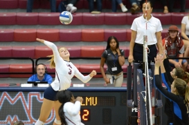 Savannah Slattery LMU volleyball vs. UCLA AUg. 27, 2016
