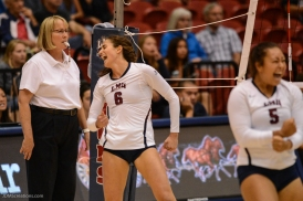 Sarah Sponcil Celebrates LMU volleyball vs. UCLA AUg. 27, 2016