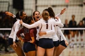 Sarah Sponcil Team Celebration LMU volleyball vs. UCLA AUg. 27, 2016