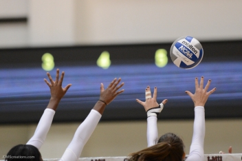 Graphic Hands Ball LMU volleyball vs. UCLA AUg. 27, 2016