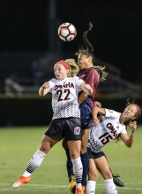 Sarina Bolden Header LMU women's soccer vs. Nebraska-Omaha Sept. 24, 2016