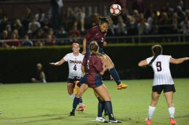 Sarina Bolden Header LMU women's soccer vs. Nebraska-Omaha Sept. 24, 2016