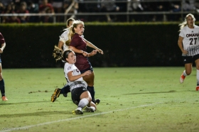 LMU women's soccer vs. Nebraska-Omaha Nikki Martino reactis to Game Tying goal