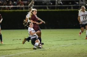 LMU women's soccer vs. Nebraska-Omaha Nikki Martino reactis to Game Tying goal