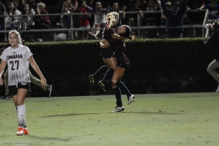 LMU women's soccer vs. Nebraska-Omaha Nikki Martino Game Tying goal celebration with Pilar Torres