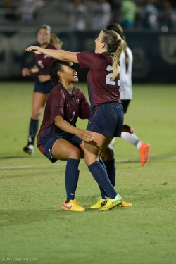 LMU women's soccer vs. Nebraska-Omaha Maddie Medved Game Winning Penalty Kick celebrates with Sarina Bolden