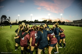 Team-Huddle pregame LMU women's soccer vs. Nebraska-Omaha Sept. 24, 2016