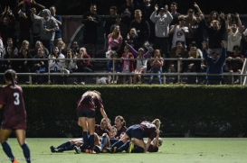 LMU women's soccer vs. Nebraska-Omaha Nikki Martino Game Tying goal celebration with Team