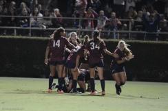 LMU women's soccer vs. Nebraska-Omaha Nikki Martino Game Tying goal celebration with Team