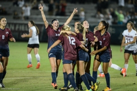 LMU women's soccer vs. Nebraska-Omaha Maddie Medved Game Winning Penalty Kick celebrates with Team