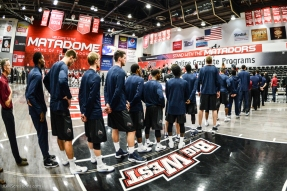 Team anthem LMU men's basketball at CSUN at Matadome Dec. 10, 2016 in Northridge, CA