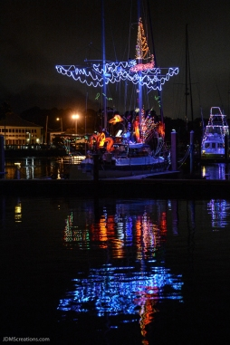 A boat sits in Saint Andrews harbor after the Christmas Lights Boat Parade in Panama City Florida Dec. 13, 2016