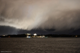 A winter strom moves into Upper Grand Lagoon across the Saint Andrews Bay off the shores of Panama City, Florida