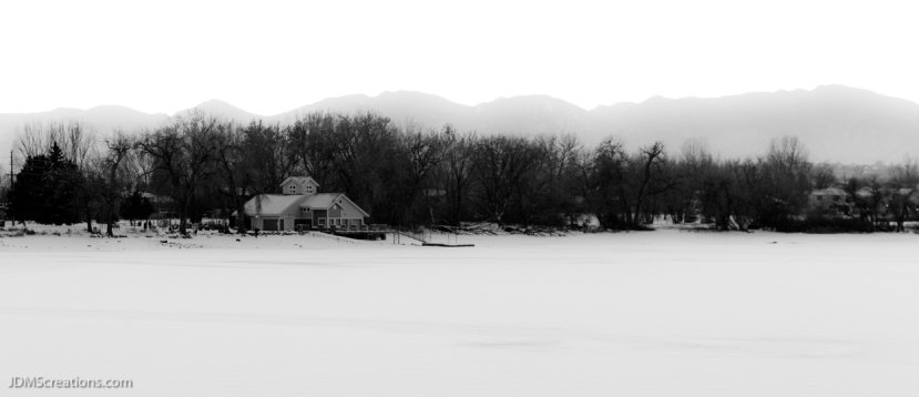 Waneka Lake Boathouse winter snow Black and white