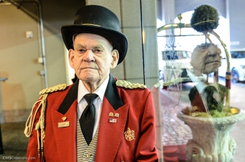 Davenport Hotel Doorman John, his 64th year with the hotel. Began in 1953.