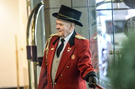 Davenport Hotel Doorman John, his 64th year with the hotel. Began in 1953.