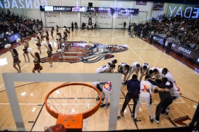 Team Cheer Huddle Floor LMU men's basketball vs. No. 1 Gonzaga Feb. 9, 2017