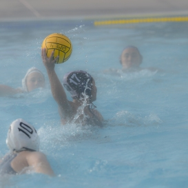 Kiana Etrata in the morning fog LMU women's water polo vs. Michigan LMU Invitational Mar. 17, 2027