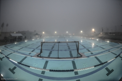 Burns Aquatics Center pre-dawn before LMU Invitation in a dense fog on the bluff.