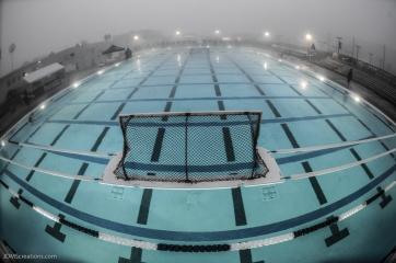 Burns Aquatics Center pre-dawn before LMU Invitation in a dense fog on the bluff.