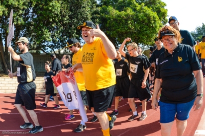 Special Olympics Southern California LA/SGV Pomona Area Games April 22, 2017 Long Beach delegation with bocce player giving thumbs up