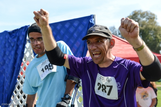 Special Olympics Southern California LA/SGV Pomona Area Games April 22, 2017 Edward Garcia, walk athlete, from East San Gabriel Valley and Dean Arbour from San Gabriel Valley on medal stand