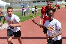 Special Olympics Southern California LA/SGV Pomona Area Games April 22, 2017 USC 50-yard dash winner and reaction from teammate