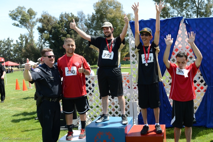 Special Olympics Southern California LA/SGV Pomona Area Games April 22, 2017 runners on medal stand with Azusa Sheriff