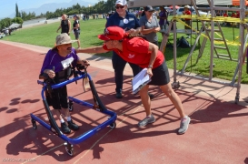 Special Olympics Southern California LA/SGV Pomona Area Games April 22, 2017 assisted walk race with volunteers cheering