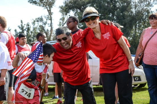Special Olympics Southern California LA/SGV Pomona Area Games April 22, 2017 Pomona Valley delegation celebrates, Adam Olmos, boy with flag