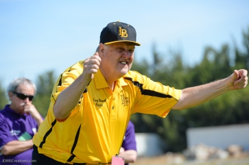 Special Olympics Southern California LA/SGV Pomona Area Games April 22, 2017 Long Beach bocce athlete, celebrating with character