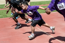 Special Olympics Southern California LA/SGV Pomona Area Games April 22, 2017 athlete takes off at starting line of 50-yard dash