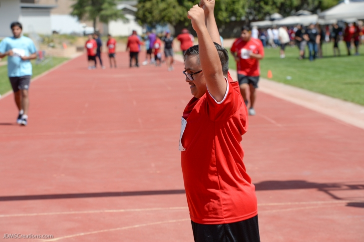 Special Olympics Southern California LA/SGV Pomona Area Games April 22, 2017 Norwalk athlete reacts and celebrates at finish line