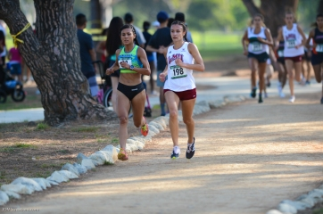 Danielle Shanahan and her opponent run side by side into the back half of the course.