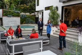 KTLA's Erin Myers with athletes during 7 am segment SoCal Dream House Raffle Media Day - Hollywood Hills - Jan. 29, 2018