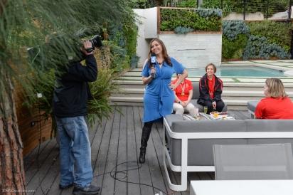 KTLA's Erin Myers with athletes during 7 am segment SoCal Dream House Raffle Media Day - Hollywood Hills - Jan. 29, 2018