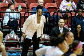 Associate Head Coach April Phillips LMU women's basketball vs. Gonzaga - Feb. 15, 2018