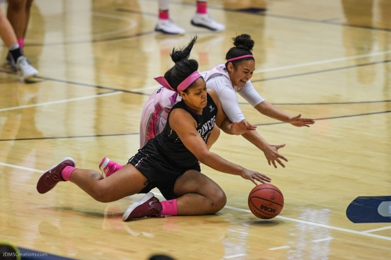 Cierra Belvin defense LMU women's basketball vs. Santa Clara - Senior Day - Feb. 22, 2018