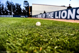 Baseball in grass in front of Home of the Lions LMU baseball vs. Oregon - Feb. 23, 2018