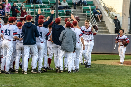 Team after Jamey Smart homerun LMU Baseball vs. San Francisco - Apr. 14, 2018