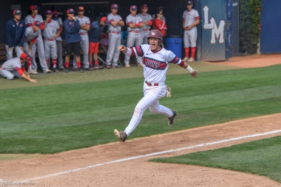 Brandon Shearer scores game winning run. LMU baseball vs. Saint Mary's - May 20, 2018